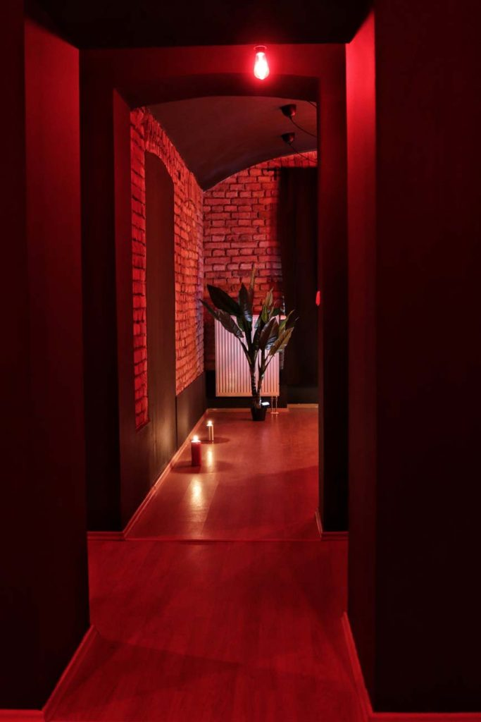Erotic massage salon interior